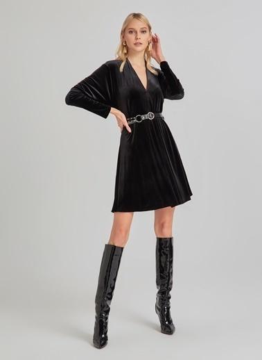 People By Fabrika Kemerli Kadife Elbise Siyah